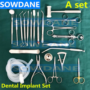 22 pcs/set High Quality Dental Planting set Dental Implant kit Stainless steel Instrument Dentist Surgical Tool with hole towel 1 piece dental implant bone terphine bur stainless steel dental surgical implant instrument disinfection holder autoclavable