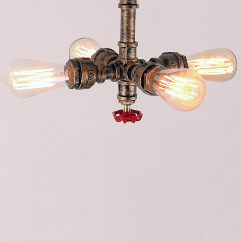 Vintage iron painted creative ceiling lamps E27 LED 220V water pipe ceiling lights for living room bedroom restaurant hotel cafe