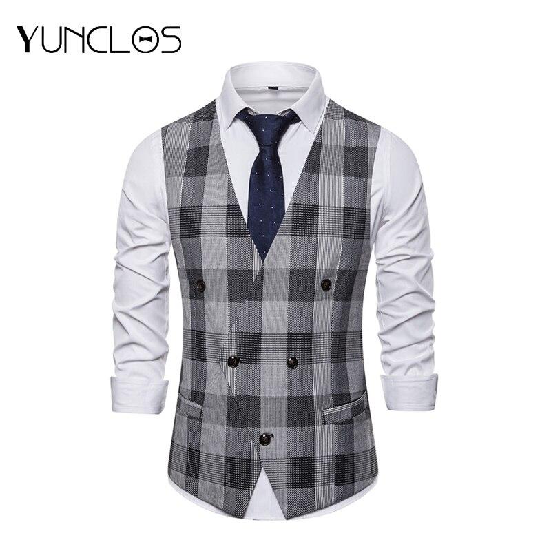 YUNCLOS 2019 Black And White Plaid Double Breasted Men's Suit Vest Business Suit Vest Men Fashion City Men Suit Vest