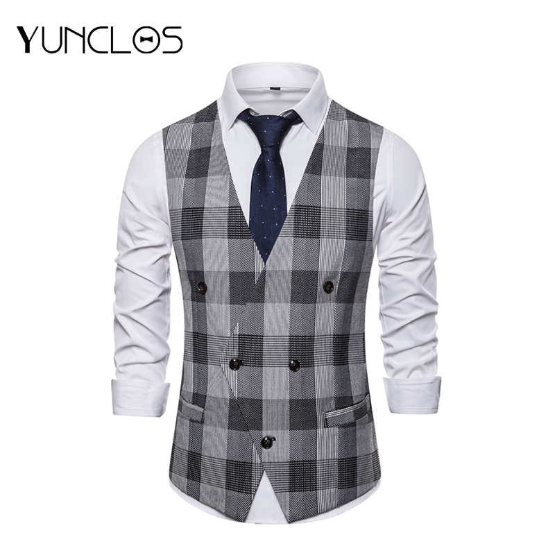 YUNCLOS  Black And White Plaid Double Breasted Men's Suit Vest Business Suit Vest Men Fashion City Men Suit Vest