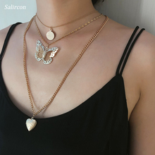 SalirCon Individuality Hollow Butterfly Pendant Chain Necklace Heart Love Gold Silver Alloy Jewelry