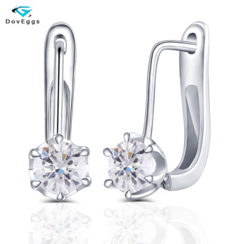 DovEggs Sterling Solid 925 Silver 0.5CT 5mm H Color Moissanite Stone Hoop Earrings for Women Fine Jewelry Classic Clip On