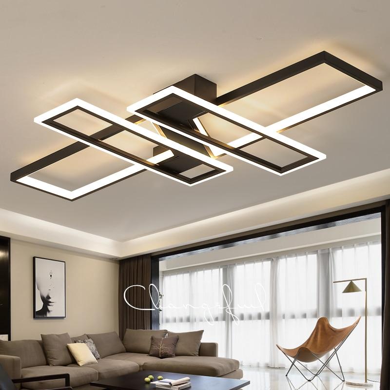 Moderno led lustre de teto luz para sala estar quarto cozinha casa lâmpadas teto controle remoto retângulo preto luminárias
