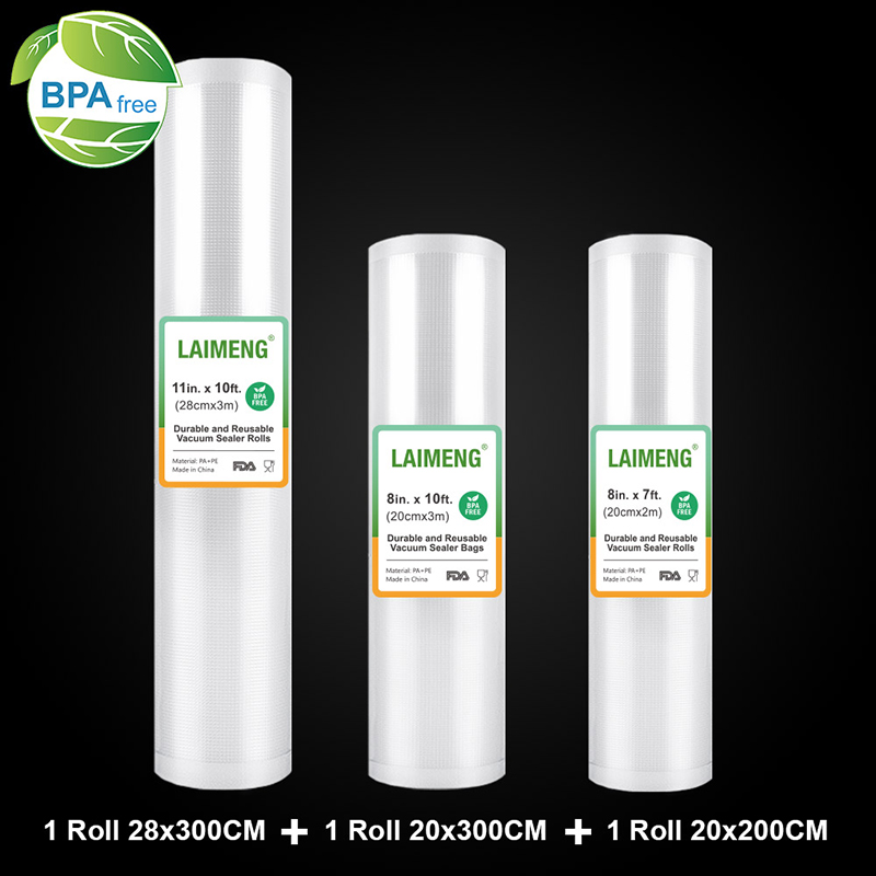LAIMENG Vacuum Bags For Vacuum Packing Machine Storage Bags 3 Rolls/Lot Sous Vide For Vacuum Packaging Sealing Machine R132