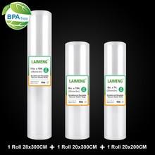 LAIMENG Vakuum Taschen für Vakuum Verpackung Maschine Lagerung Taschen 3 Rolls/Lot Sous Vide Für Vakuum Verpackung Abdichtung Maschine r132