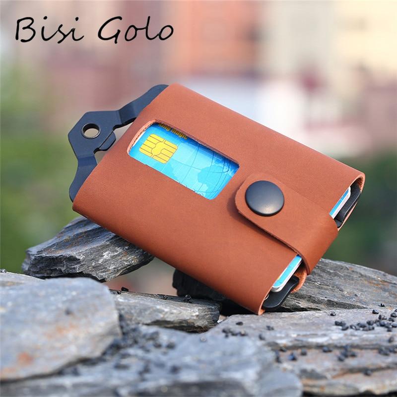 BISI GORO 2020 Button Smart Wallets RFID Credit Card Holder Money Bag Hasp Small Wallet For Men Card Holder Purse Carteira
