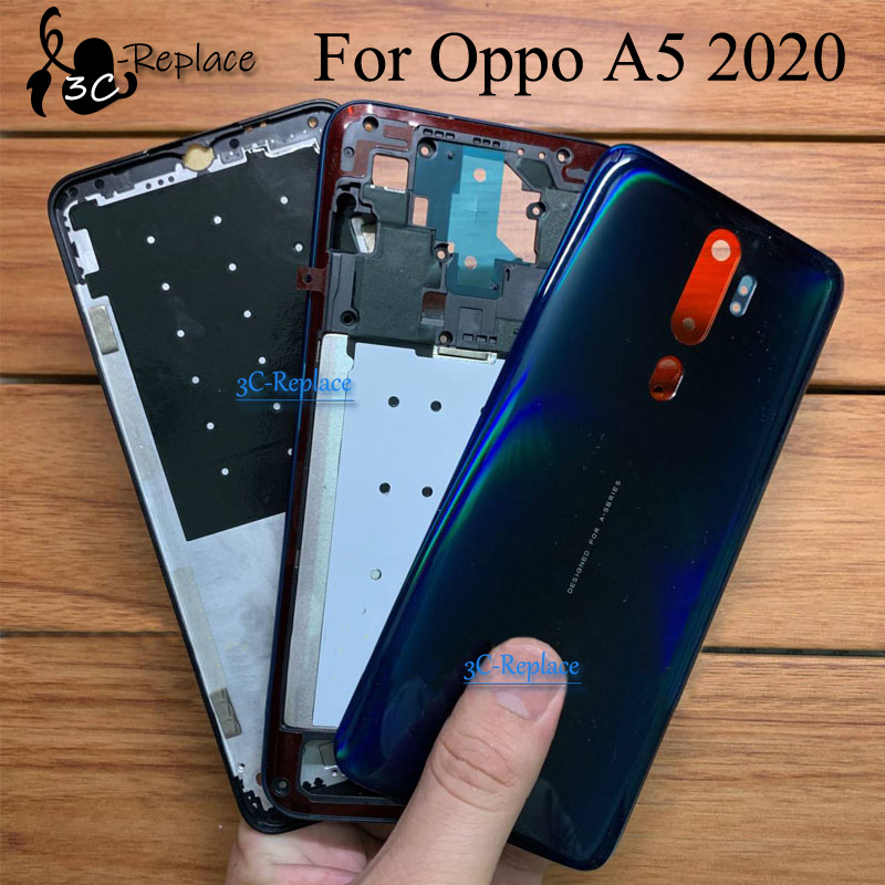 Лицевая пластина для ЖК-дисплея, крепящаяся на переднюю раму для средней рамки Корпус Батарея дверь задняя крышка Корпус чехол для Oppo A5 2020 ...