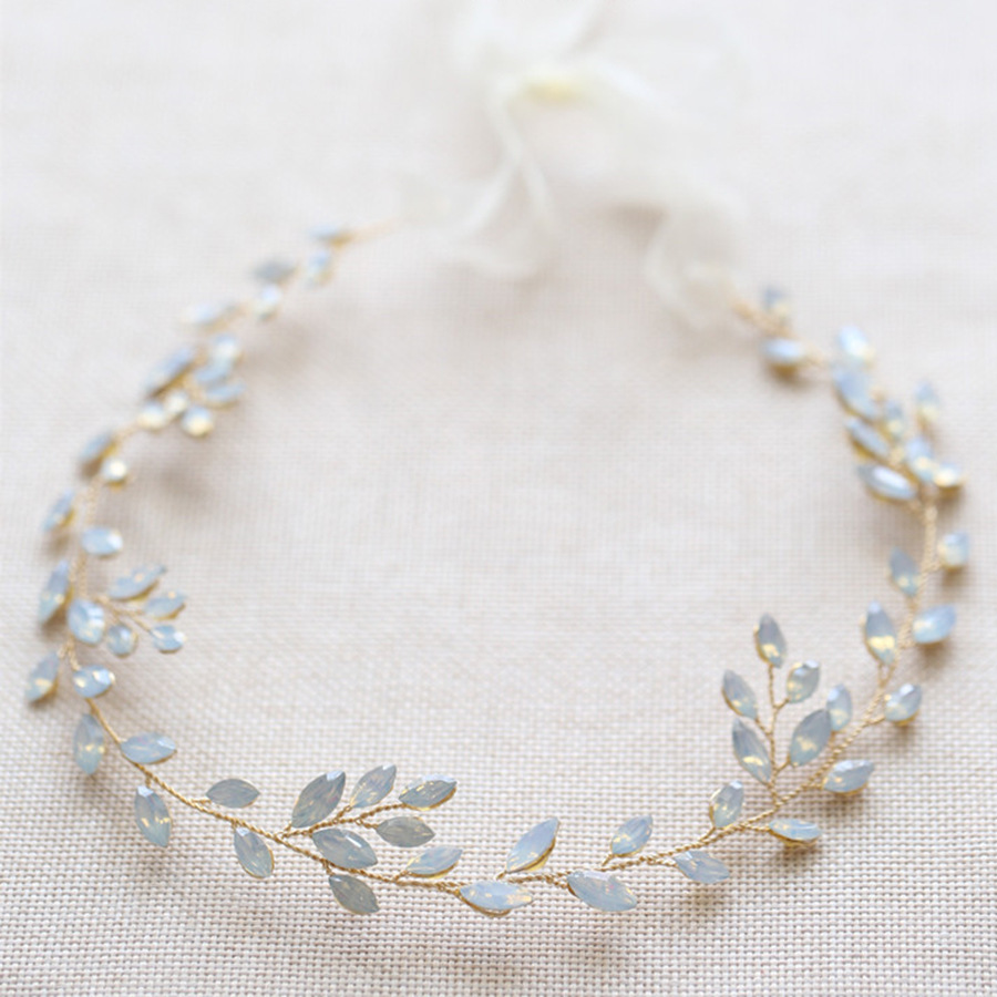 Горячая новинка, Опаловая Свадебная расческа для волос с листьями и кристаллами, простой свадебный головной убор для свадебной вечеринки