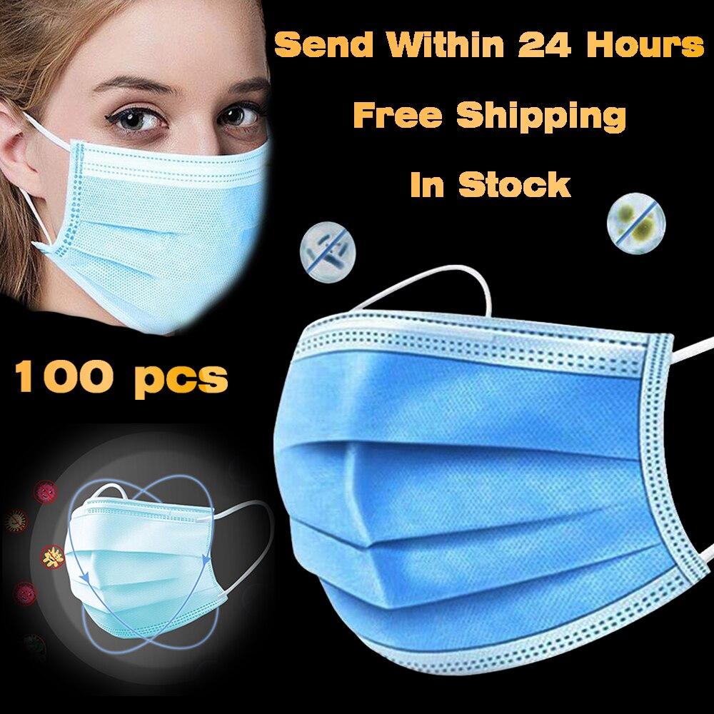Одноразовая маска для лица с изображением рта 3-слойная защитная маска против загрязнения Анти-пыль PM2.5 Нетканая эластичная маска для ушей