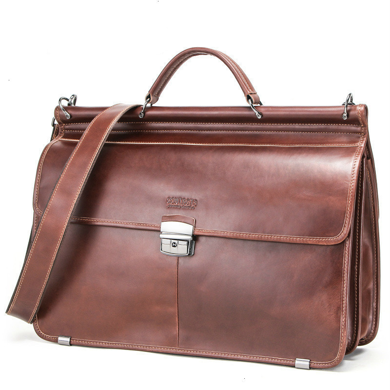 New Mens Leather Laptop Messenger Bags Man Business Affairs Briefcase Will Capacity More Function Male Package Designer Duffel