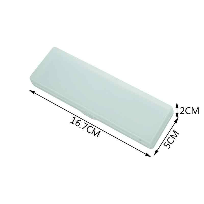 ง่ายกึ่งโปร่งใส Matte ดินสอกล่องดินสอพลาสติกกรณีกล่องดินสอการเรียนรู้เครื่องเขียน PLA e5Z4
