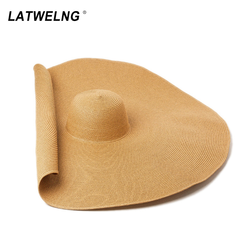 Super Bigger Brim 70 Cm Wide Straw Hats For Women Foldable Paper Beach Hat Summer Sun UV Hats Stage Cap Dropshipping Wholesale