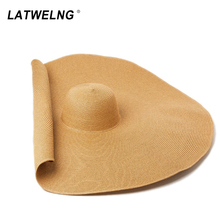 Super Bigger Brim 70 cm Wide Straw Hats For Women Foldable Paper Beach Hat Summer Sun UV Stage Cap Dropshipping Wholesale