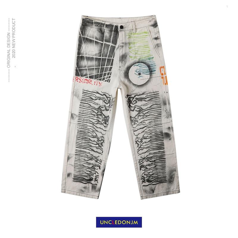 UNCLEDONJM 2020 Streetwear Men Loose Denim Pants Graffiti Print Vintage Denim Pants Harajuku Joggers Trousers Cotton T2-a021
