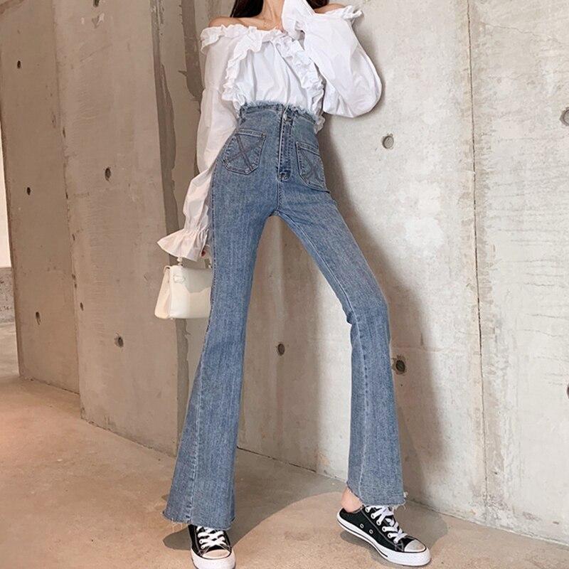 High Waist Jeans Vintage Korea High-rise Jeans Women Autumn And Winter Wash Tearing Wide-leg Trousers Women Pants