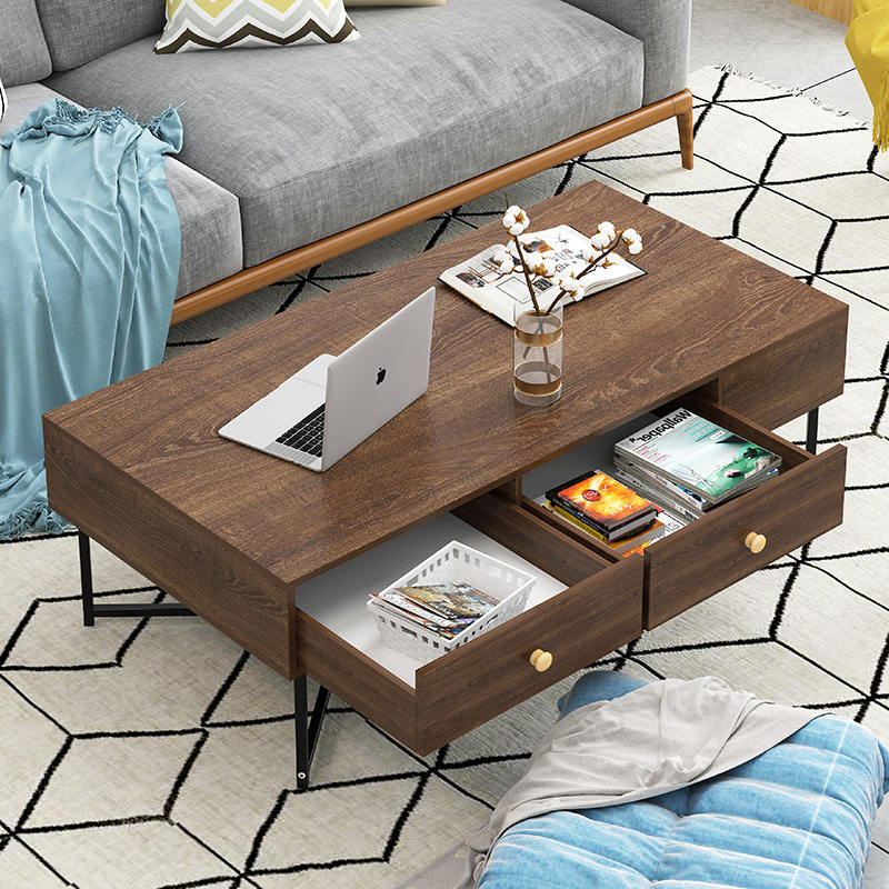 TV Cabinet Teapoy Table Combination Modern Minimalist Household Small Apartment Living Room Set Furniture Economical Cabinet Flo