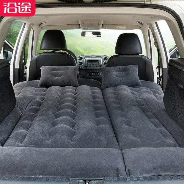 New Car Inflatable Bed Car Rear Row With SUV Travel Portable Air Bed Flocking Air Mattress