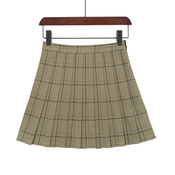 PEONFLY Sweet Women Pleated Skirt Fashion Plaid A-Line Mini High Waist Chic Skirt Kawaii Summer Casual Ladies Plaid Skirt - type2-2, XS
