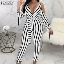 2020 Summer Cold-shoulder Overalls Fashion Striped Slim Party Playsuit ZAZNEA Women Sexy Deep V Neck Blackless Jumpsuits Rompers(China)