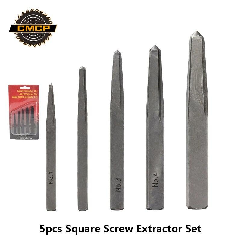 5pcs 1/8 3/16 15/64 5/16 3/8 Square Screw Extractor Set Broken Screw Remover Damaged Bolt Drill Bits Removal Tools