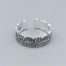 925-Sterling-Silver Jewelry Opening-Rings Lace SR474 Forest Wavy Bark-Pattern Creative