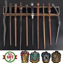 34-42cm Metal Core Magic Wands 28 Kinds Cosplay Dumbledore Voldmort Malfoy Luna Snape Wands Toys 4 Badges As Free Gift