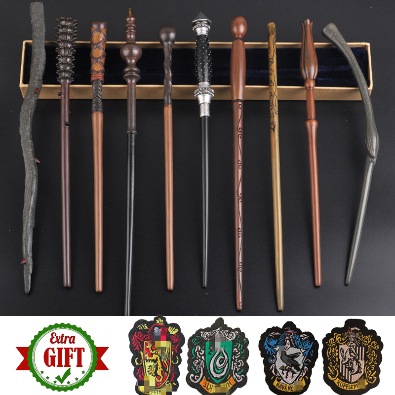 34-42cm Metal Core Magic Wands 28 Kinds Potters Cosplay Dumbledore Voldemort Malfoy Luna Snape Wands Toys 4 Badges As Free Gift