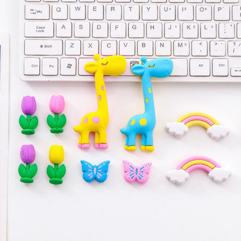 5 Pcs Cute Erasers Cartoon Kindergarten Toy Giraffe Rainbow Eraser For Funny Pencil Erasers Korean Stationery School Supplies