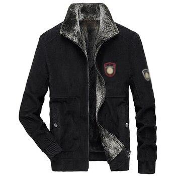 City Leisure Corduroy jacket coat winter warm fleece zipper overcoat stand collar long sleeves velvet thick outwear for men S-5X