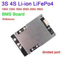 Dykb 3S 4S 12V 100A 200A 300A 380A Li ion LiFePo4 placa BMS de protección de batería con Balance de alta corriente 3 4 celdas inversor