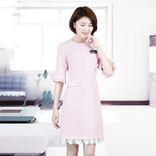 Cosmetologist work clothes Korean version of the pink waist sleeves to show thin plus-size dress