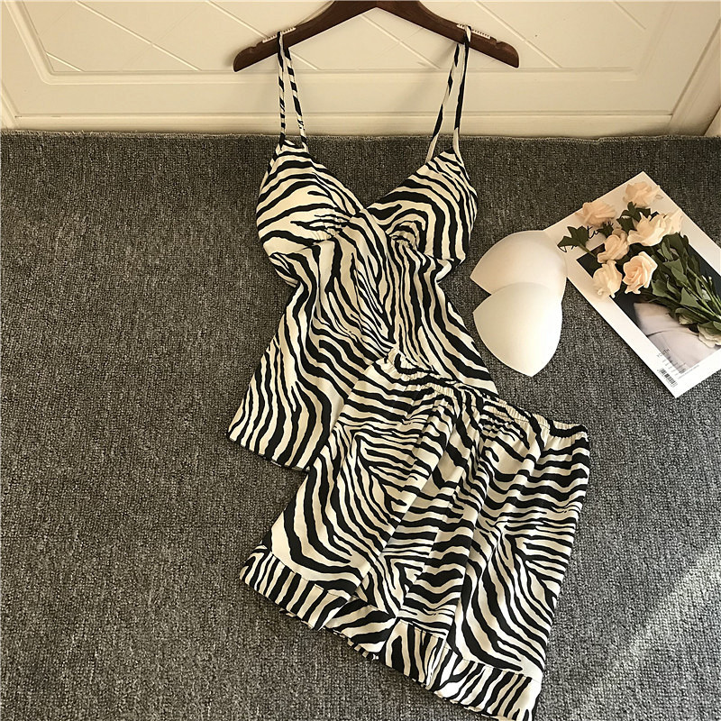 QWEEK Satin Pajamas For Women Pijama Mujer Sexy Lounge Wear Zebra Print Silk Pyjamas Sleepwear Pjs Set Sleeping Nightwear 2020