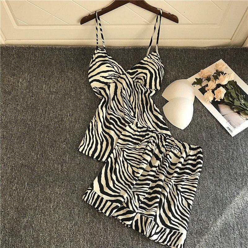 QWEEK Satin Pajamas For Women Pijama Mujer Sexy Lounge Wear Zebra Print Silk Pyjamas Sleepwear Pjs Set Sleeping Nightwear 2020