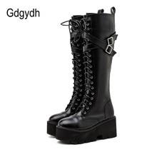 Gdgydh moda kobiety buty pasek krzyżowy PU skóra jesień zima buty do kolan panie gruba podeszwa platformy buty Punk Gothic