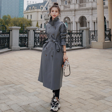 Trench-Coat Windbreaker Spring Double-Breasted Women Autumn Long Lady Brand-New