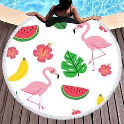 Colorful Flower Round Beach Towel Flamingo Printing Summer Swimming Microfiber Beach Towel Adults Kids Picnic Blanket
