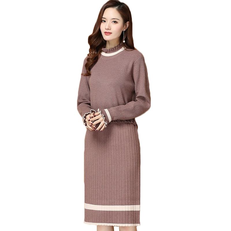 2019 automne hiver nouveau pull en tricot robe femmes à manches longues grande taille mi-longue à volants demi col roulé pull tricoté robe 3XL