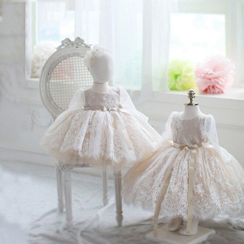Nouveau-né bébé filles robe pour baptême baptême 1st anniversaire infantile robes à manches longues Tulle fête bal enfant en bas âge fille vêtements