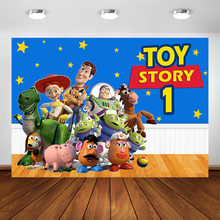 Photography Backdrops Blue Sky Yellow Wood Toys Story Photo Backdrop Cartoon Animal Party Birthday Decorations Custom Banner