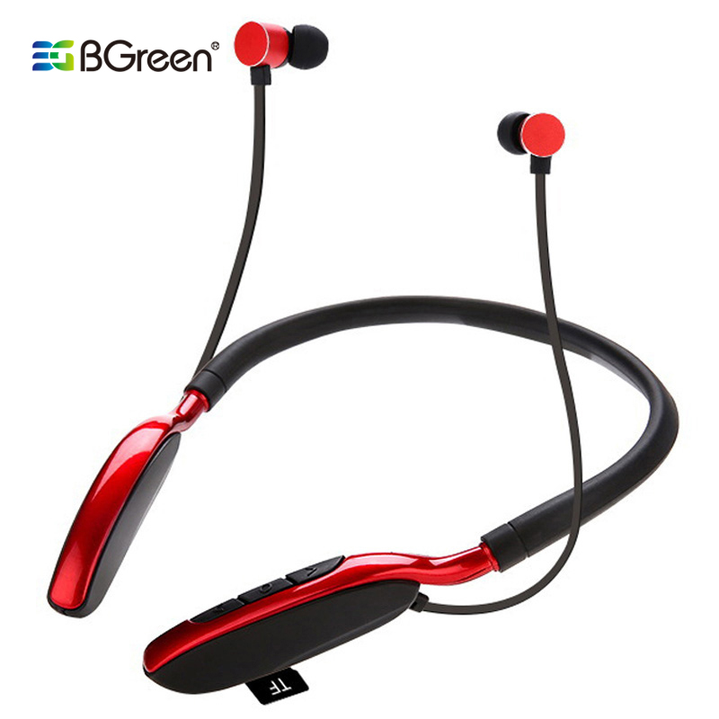 BGreen Bluetooth Sports Headphone Sport Headset Support MP3 TF Card Playback BT Call Stereo Earphone With Big Build In Battery-in Bluetooth Earphones & Headphones from Consumer Electronics on AliExpress