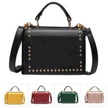 Роскошные женские сумки, дизайнерские сумки через плечо, маленькие двухсторонние сумки мессенджер с заклепками, женские сумочки черного цвета