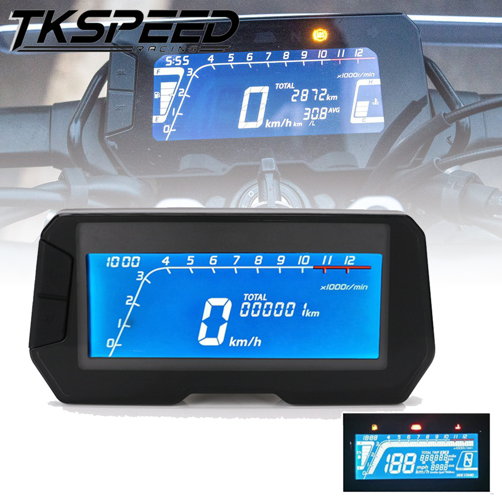 RENNICOCO 12000 RPM MPH LCD Motorrad Digital Tachometer Kilometerz/ähler Led Kraftstoffanzeige Hintergrundbeleuchtung f/ür 4 Hub 1 2 4 Zylinder Motorrad