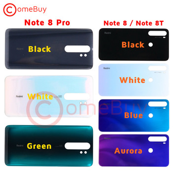 For Xiaomi Redmi Note 8 Pro Battery Cover Door Back Glass Panel 8T Rear Housing Case for Redmi Note 8 Pro Back Battery Cover joliwow for xiaomi redmi 5 battery back cover rear housing metal door camera glass lens repair spare parts