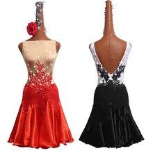 Платье для латинских танцев, женское платье без рукавов с вышивкой, блестящее платье для выступлений с кристаллами, женская одежда для Румба ча-ча Самба Танго, DN3538