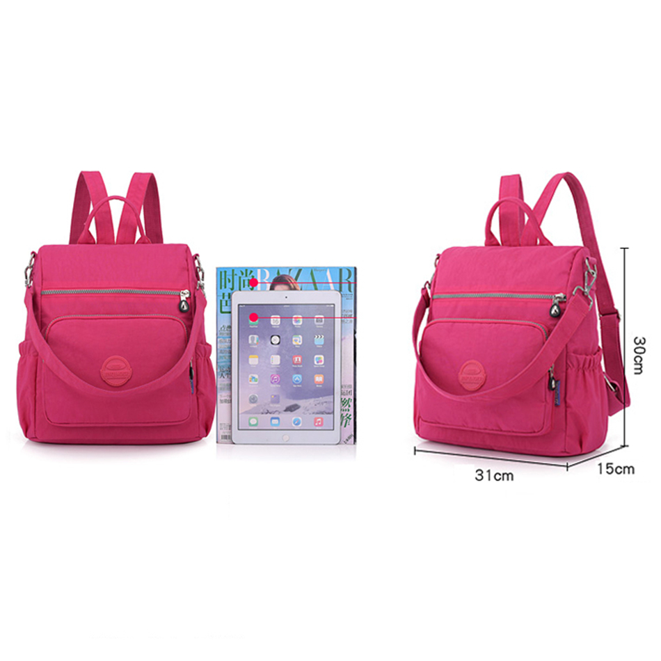 Image 3 - 3 in 1 Women Backpack Solid Fashion School Bags For Girls Nylon Waterproof College Students Backpack Shoulder Travel Causal BagBackpacks   -