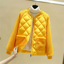 Autumn short Coat Women Casual Winter Jackets and Coats Fashion Patchwork Warm Lamb Fur Outerwear Basic Tops Female 2020 New cheap PKSAQ Office Lady Ages 18-35 Years Old zipper Large size winter jacket Full COTTON Thick (Winter) Corduroy Slim Solid
