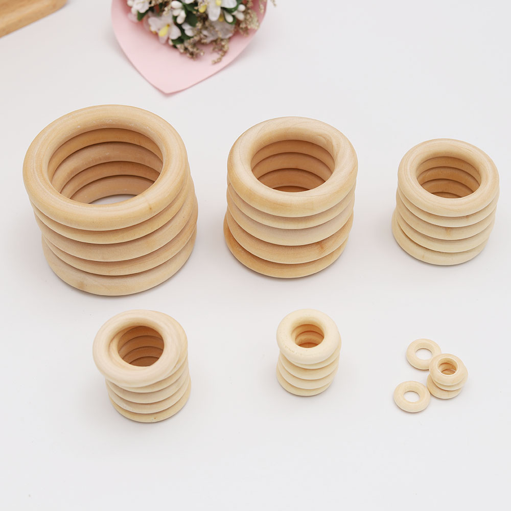 15mm-70mm Natural Wood Baby Teething Beads Wooden Teether Ring Children Kids DIY Wooden Necklace Bracelet Making Crafts