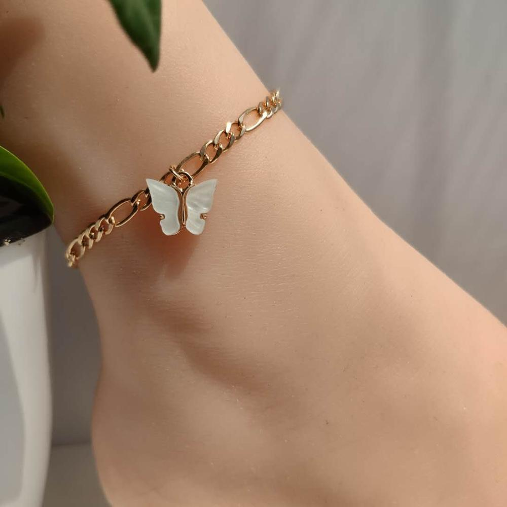 Fashion Cute Butterfly Anklets for Women Simple Anklet Gold Color Chain Ankle Bracelet on Leg 2020 Bohemian Beach Foot Jewelry