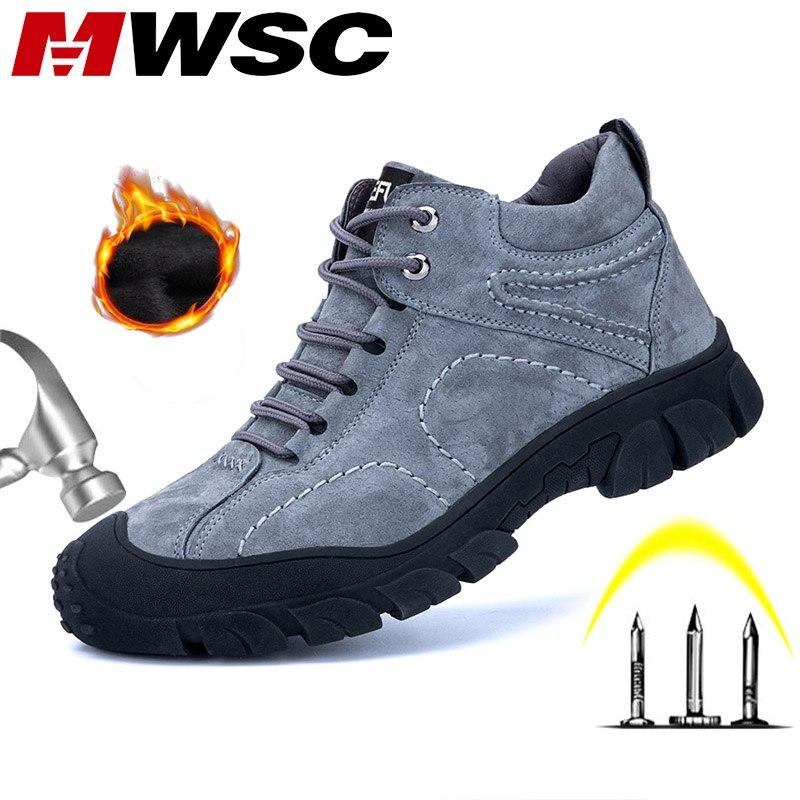 MWSC защитная Рабочая обувь из натуральной кожи; мужские уличные ботинки со стальным носком; зимние рабочие ботинки с защитой от проколов