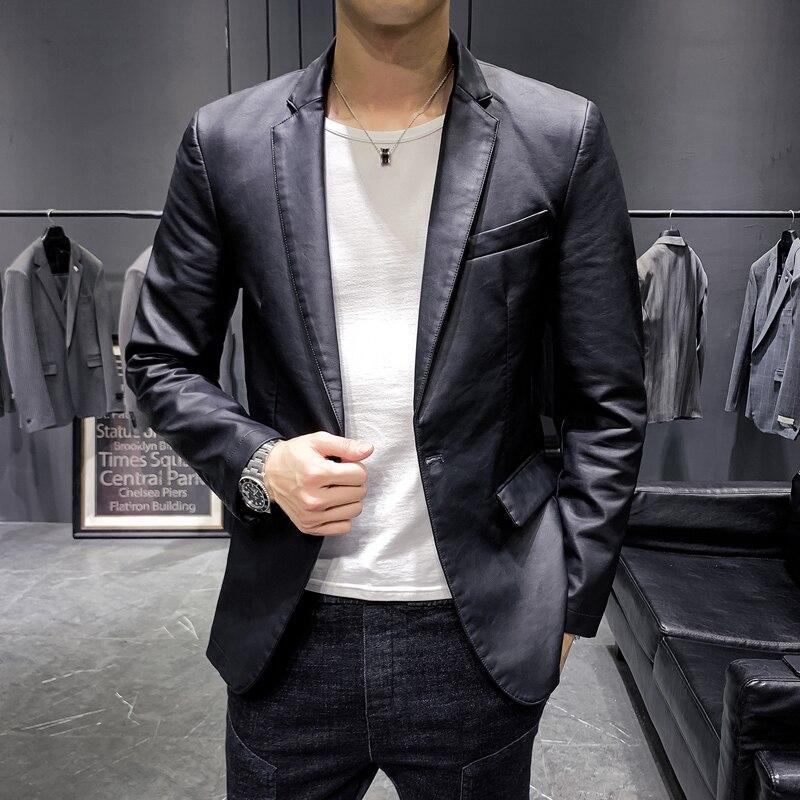 Faux Leather Black Suit Jacket Men High Quality Business Casual Slim Fit Simple Coat Plus Size Solid Blazer Male